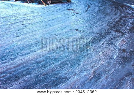 The icy road in winter at Vilnius, Lithuania.