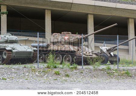 Nauders Austria - August 9 2017. Soviet WW2 tank model T34/85 at the Festung Nauders a fortress build in WW1.