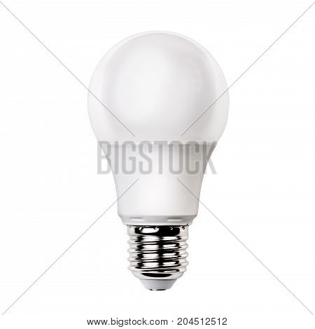 White opaque round energy saving light bulb isolated on white background