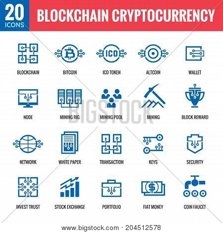 Blockchain cryptocurrency - 20 vector icons. Modern computer network technology sign set. Digital graphic symbol collection. Bitcoin finance. Concept design elements.