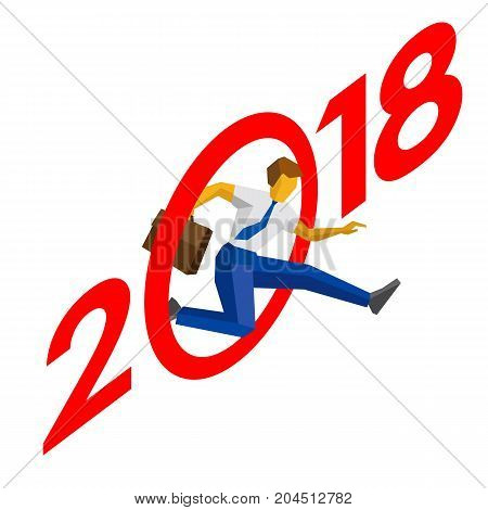Businessman jump throw zero in number 2018. Man crosses the line, career success. New year concept for greeting card, poster or annual report. Isometric vector clip art, isolated on white background.