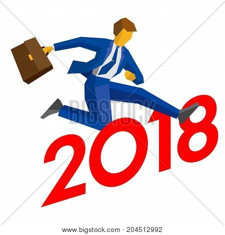 Businessman jump over number 2018. Man crosses the borderline, career success. New year concept for greeting card, poster or annual report. Isometric vector clip art, isolated on white background.