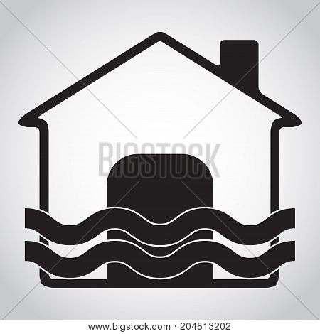 Flood disaster and home icon abstract vector illustration