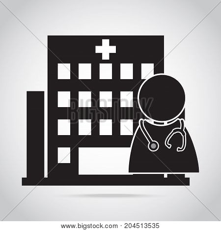 Doctor and Hospital building icon vector illustration