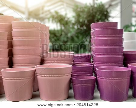 Pots Of Flower Pots On The Shelf In The Store