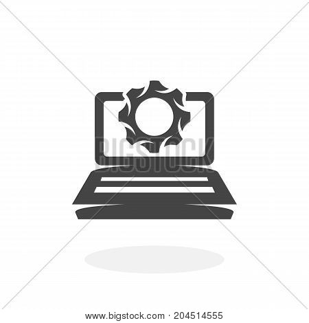 Laptop and gears icon isolated on white background. Laptop and gears vector logo. Flat design style. Modern vector pictogram for web graphics - stock vector