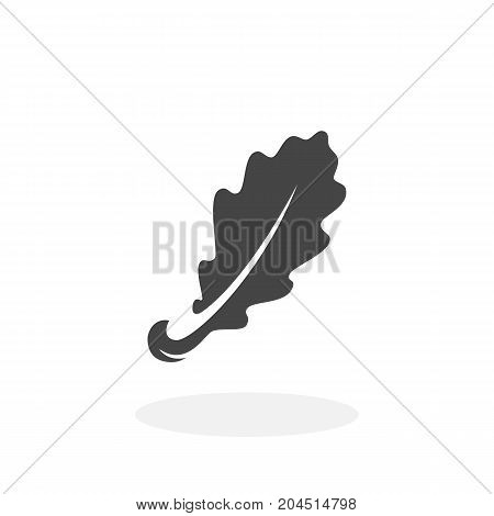 Oak leaf icon isolated on white background. Oak leaf vector logo. Flat design style. Modern vector pictogram for web graphics - stock vector