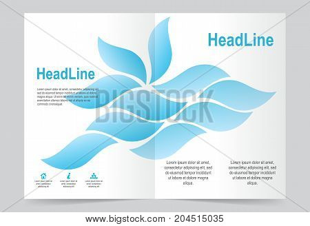 Blue and White Brochure template flyer design abstract template for annual report magazine poster