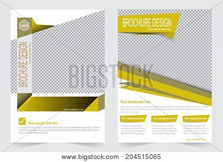 Yellow and White Brochure template flyer design abstract template for annual report magazine poster