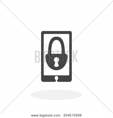 Mobile lock icon illustration isolated sign symbol. Mobile lock vector logo. Flat design style. Modern vector pictogram for mobile and web design - stock vector