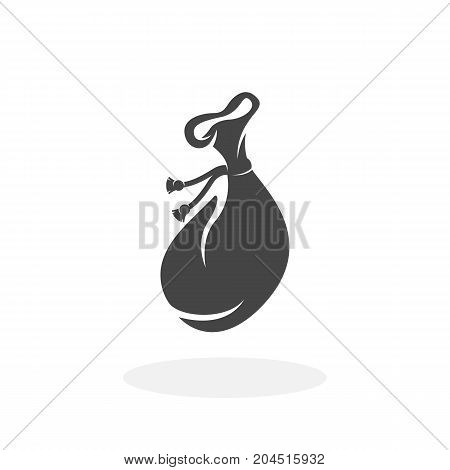 Money bag icon illustration isolated sign symbol. Money bag vector logo. Flat design style. Modern vector pictogram for mobile and web design - stock vector