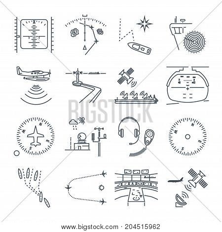 set of thin line icons sea and air navigation piloting equipment devices