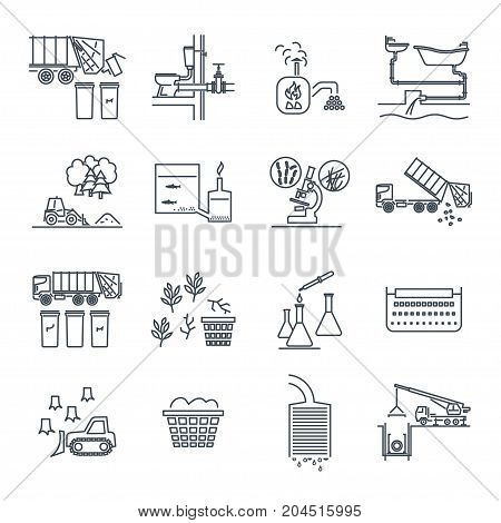 set of thin line icons waste garbage refuse sewage sewerage recycling