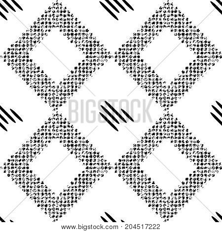 Black pattern with rhombuses. vector seamless pattern