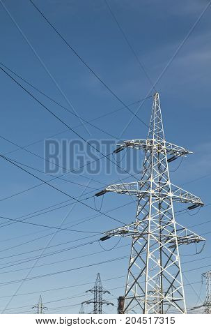 View Of High Voltage Power Line Pylons