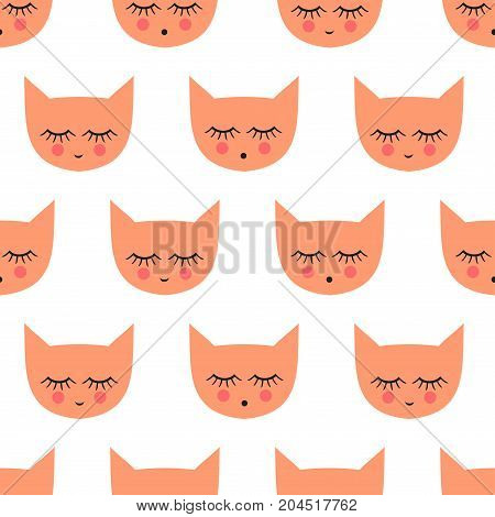 Seamless pattern with smiling sleeping cats for kids holidays. Cute baby shower vector background. Child drawing style kitty design for print on baby's clothes, textile, wallpaper, fabric.