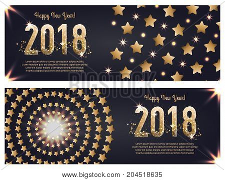 Vector Web Banner Template For Happy New Year 2018, Executed In Polygonal And Gold Style. A Set Of T