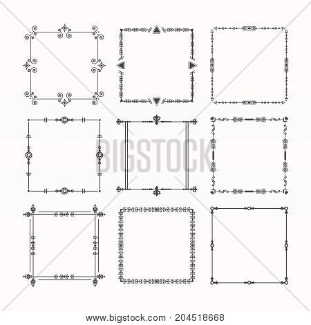 Black modern line square frames and borders emblem icons set on white background