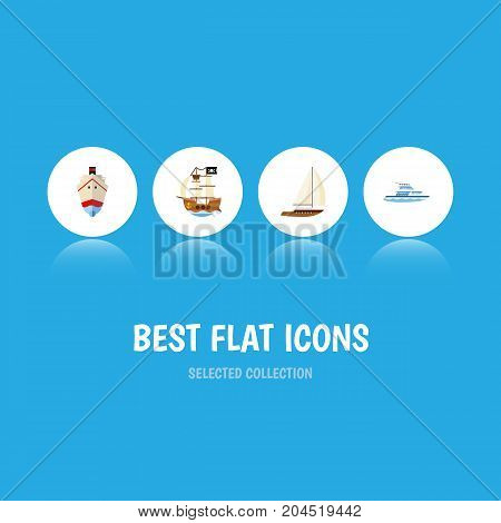 Flat Icon Vessel Set Of Yacht, Vessel, Boat And Other Vector Objects