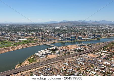 Clear skies over downtown Tempe Arizona the town lake and the campus of Arizona State University