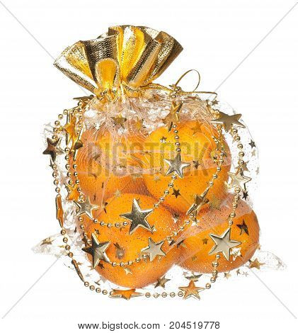 Fresh tangerines in a gift package isolated on white background
