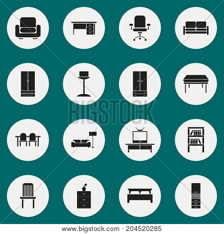 Set Of 16 Editable Furniture Icons. Includes Symbols Such As Cupboard, Restaurant Table, Trestle And More