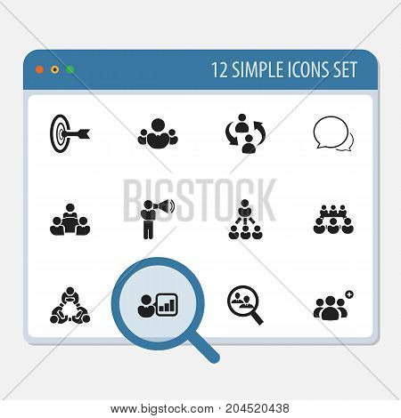 Set Of 12 Editable Community Icons. Includes Symbols Such As Human Resouces, Leader, Teamwork And More