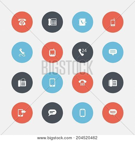 Set Of 16 Editable Gadget Icons. Includes Symbols Such As Radio Talkie, Home Cellphone, Comment And More