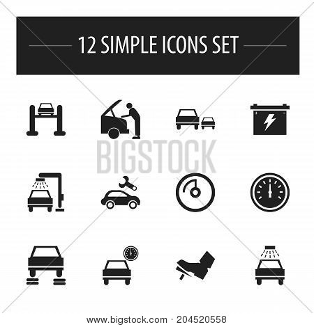 Set Of 12 Editable Car Icons. Includes Symbols Such As Odometer, Automobile, Vehicle Wash And More