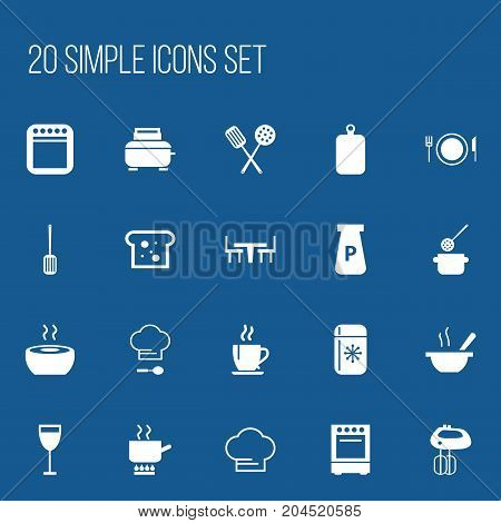 Set Of 20 Editable Kitchen Icons. Includes Symbols Such As Cuisine Tools, Cooking Cap, Kitchen Shovel And More