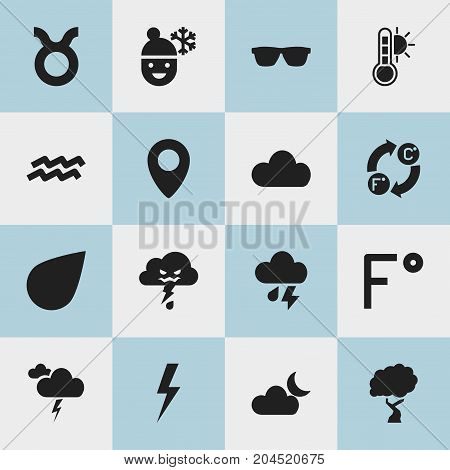 Set Of 16 Editable Climate Icons. Includes Symbols Such As Scale Of Temperature, Cloudy Day, Thunderstorm And More