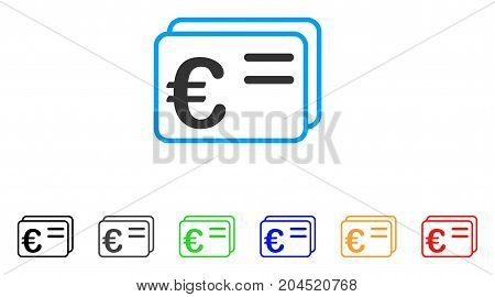 Euro Account Cards icon. Vector illustration style is a flat iconic euro account cards symbol with black, grey, green, blue, red, orange color versions. Designed for web and software interfaces.