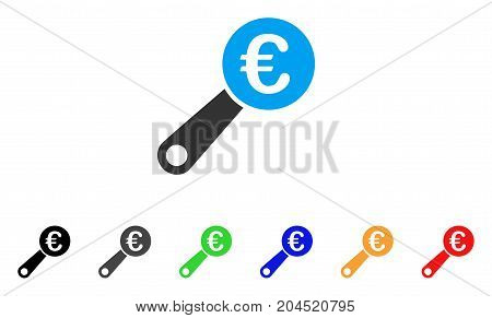 Euro Audit icon. Vector illustration style is a flat iconic euro audit symbol with black, gray, green, blue, red, orange color versions. Designed for web and software interfaces.