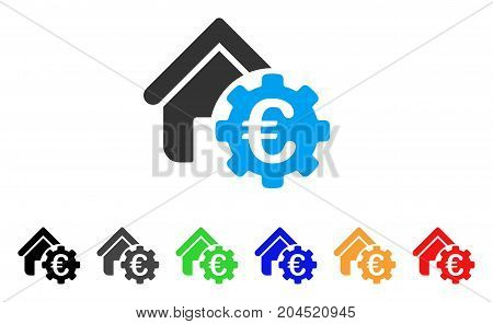 Euro Building Payment Gear icon. Vector illustration style is a flat iconic euro building payment gear symbol with black, grey, green, blue, red, orange color variants.
