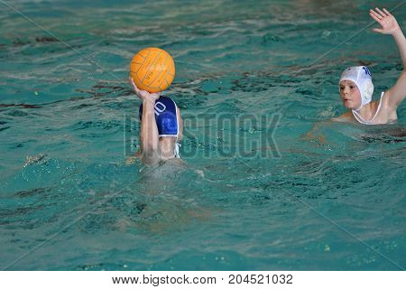 Orenburg, Russia - May 4, 2017 Years: The Boys Play In Water Polo
