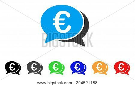 Euro Financial Transactions icon. Vector illustration style is a flat iconic euro financial transactions symbol with black, gray, green, blue, red, orange color variants.