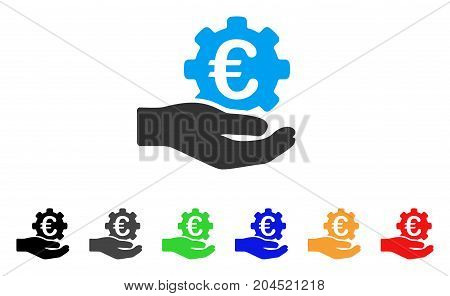 Euro Gear Service Hand icon. Vector illustration style is a flat iconic euro gear service hand symbol with black, grey, green, blue, red, orange color versions.