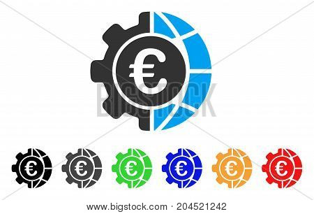 Euro Global Industry icon. Vector illustration style is a flat iconic euro global industry symbol with black, gray, green, blue, red, orange color variants. Designed for web and software interfaces.