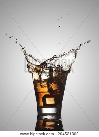 Water / Alcohol Splash with Ice Cubes