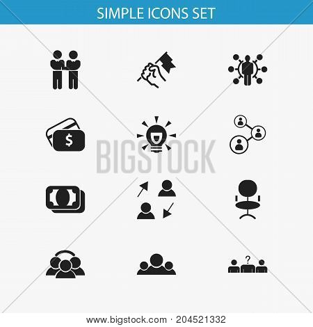 Set Of 12 Editable Business Icons. Includes Symbols Such As Team, Agreement, Rally And More