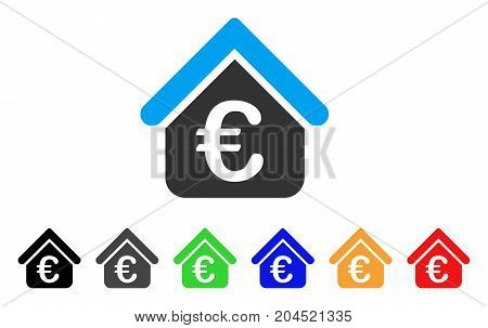 Euro Loan Real Estate icon. Vector illustration style is a flat iconic euro loan real estate symbol with black, gray, green, blue, red, orange color additional versions.