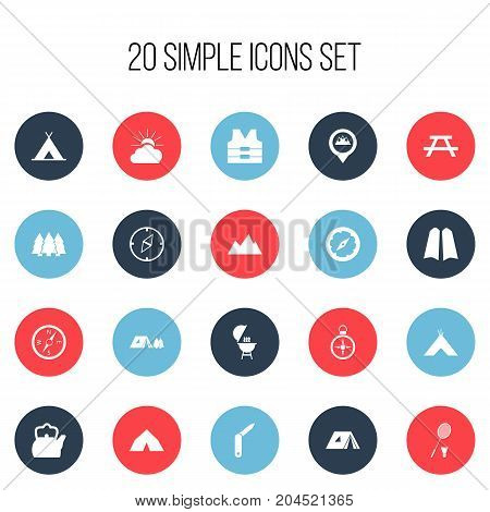 Set Of 20 Editable Trip Icons. Includes Symbols Such As Tabernacle, Tent, Forest And More