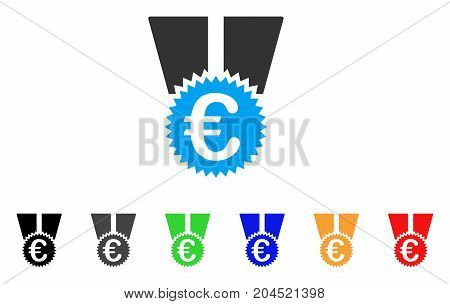 Euro Medal icon. Vector illustration style is a flat iconic euro medal symbol with black, gray, green, blue, red, orange color variants. Designed for web and software interfaces.