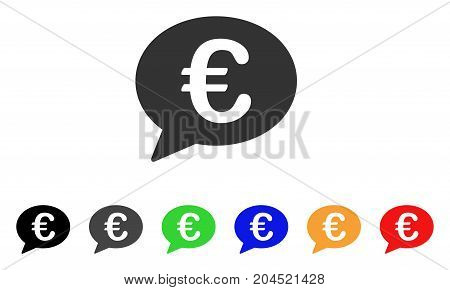 Euro Message Balloon icon. Vector illustration style is a flat iconic euro message balloon symbol with black, grey, green, blue, red, orange color variants. Designed for web and software interfaces.