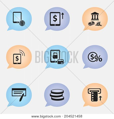 Set Of 9 Editable Finance Icons. Includes Symbols Such As Bill, Introduce, Freelance Income And More