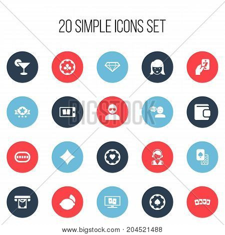 Set Of 20 Editable Game Icons. Includes Symbols Such As Card Suits, Clubs, Casino Chip And More