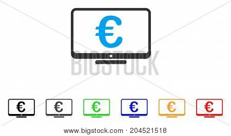 Euro Monitor icon. Vector illustration style is a flat iconic euro monitor symbol with black, grey, green, blue, red, orange color additional versions. Designed for web and software interfaces.