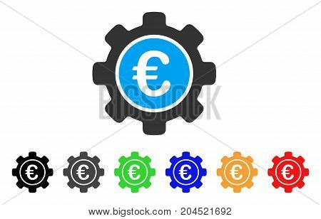 Euro Settings icon. Vector illustration style is a flat iconic euro settings symbol with black, gray, green, blue, red, orange color versions. Designed for web and software interfaces.