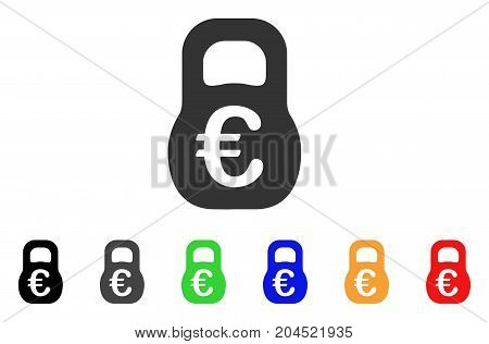 Euro Weight icon. Vector illustration style is a flat iconic euro weight symbol with black, grey, green, blue, red, orange color additional versions. Designed for web and software interfaces.