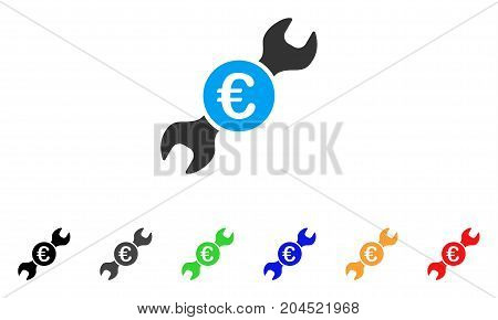 Euro Wrench icon. Vector illustration style is a flat iconic euro wrench symbol with black, grey, green, blue, red, orange color additional versions. Designed for web and software interfaces.